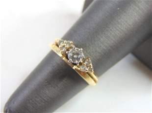 Womens 14K Yellow Gold Diamond Engagement Ring