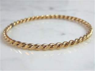Womens Vintage Estate 14K Yellow Gold Bangle Bracelet