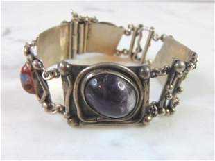 Womens Sterling Silver Turquoise Amethyst Bracelet