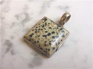 Womens Vintage Sterling Silver Leopard Jasper Pendant