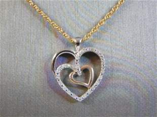 14K Gold Necklace W/ Heart Pendant and Diamond Chips