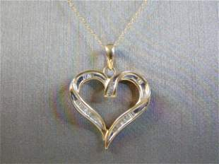 10K Gold Chain Necklace w/ Diamond Heart Pendant