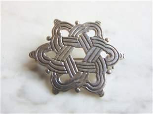 Sterling Silver Eternity Celtic Knot Star Brooch