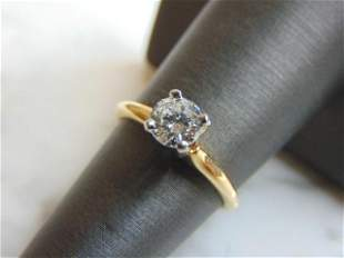 Womens Vintage 14k Gold & Solitaire Diamond Ring