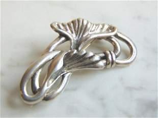 Womens Vintage Estate Sterling Silver Floral Brooch