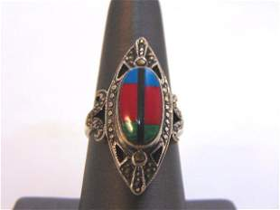 Womens Sterling Silver Southwestern Style Ring