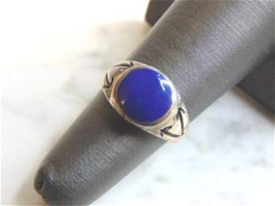 Womens Vintage Sterling Silver Lapis Lazuli Ring