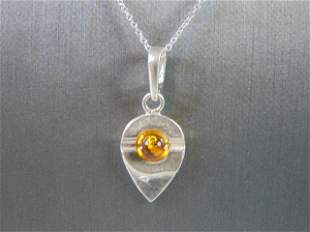 Womens Vintage Sterling Silver Pendant w/ Necklace