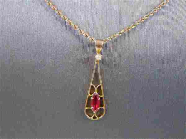 Womens Vintage 10K Gold Rope Necklace w/ Garnet Pendant