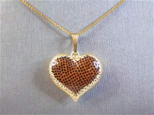 Womens 14K Yellow Gold Necklace w/ Heart Pendant