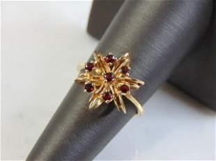 Womens Vintage Estate 14k Yellow Gold Ruby Ring