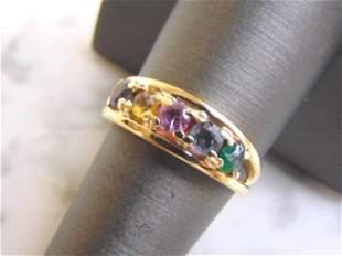 Womens Vintage 10K Yellow Gold Rainbow Tiara Ring