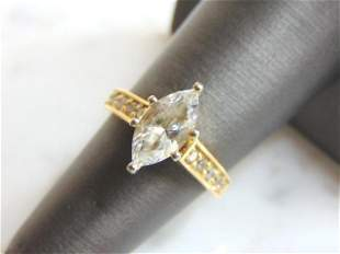 Vintage 14K Yellow Gold Ring W/ Large Clear Stone