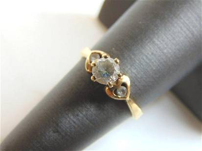 Womens Vintage Estate 10K Yellow Gold CZ Ring