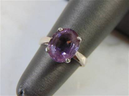 Womens Vintage Estate Sterling Silver Amethyst Ring