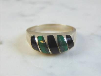 Vintage Sterling Silver Ring w/ Malachite & Onyx