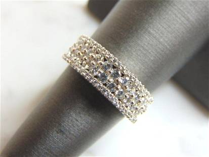 Womens Sterling Silver CZ Ring