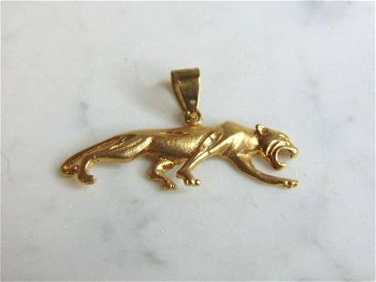 Vintage Estate 14K Yellow Gold Jaguar Pendant