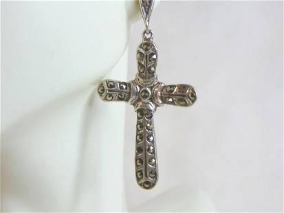 Womens Vintage Estate Sterling Silver Cross Earrings