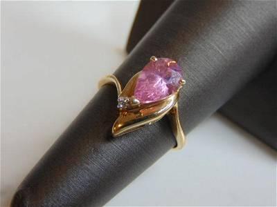Womens 14k Gold Rose Quartz Diamond Ring