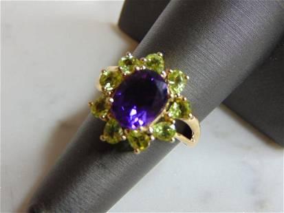 Womens Vintage Estate 14k Gold Amethyst Andradite Ring