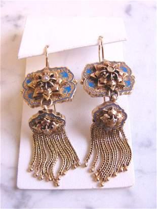 Womens Vintage Estate 14K Gold Art Deco Earrings