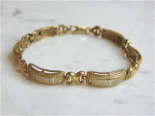 Womens Vintage Estate 10K Yellow & White Gold Bracelet