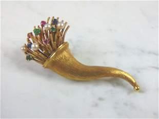 Women Vintage Estate 18k Gold Brooch 19.9g