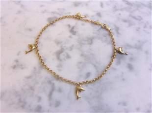 Vintage Estate 14K Yellow Gold Dolphin Charm Bracelet