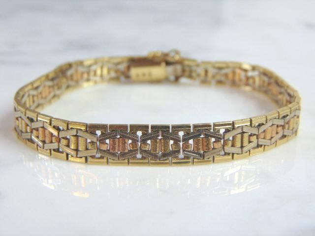 LOVELY WOMENS VINTAGE ESTATE 14K GOLD BRACELET, 18.4g