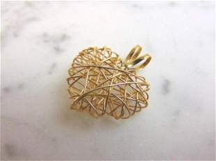 Womens Vintage Estate 14k Gold Italian Heart Pendant