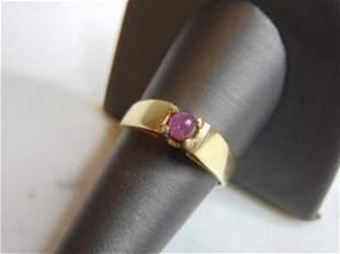 Womens Vintage Estate 14k Gold Ring w/ Pink Stone