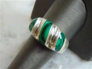 Mens Sterling Silver Malachite Ring