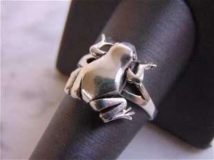 Womens Vintage Estate Sterling Silver Hinged Frog Ring