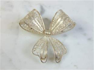 Womens Vintage Sterling Silver Filigree Bow Brooch