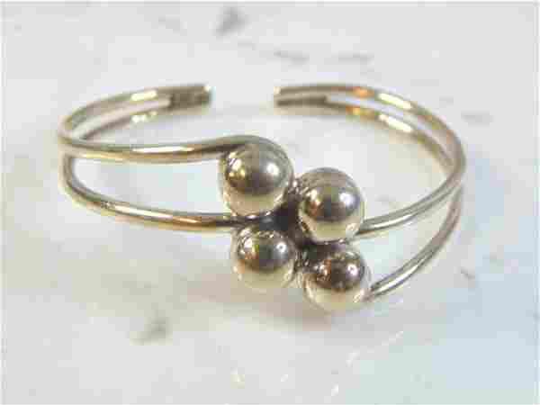 Womens Vintage Sterling Silver Modernist Cuff Bracelet