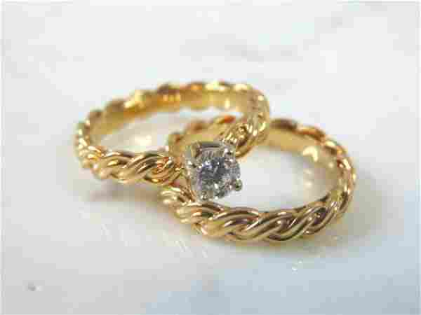 Womens 14k Yellow Gold Diamond Engagement Set