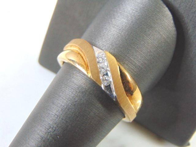 Mens Vintage Estate 10K Yellow Gold Band Diamond Ring