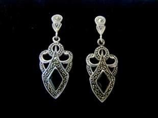 Pr of Womens Sterling Silver & Black Onyx Earrings