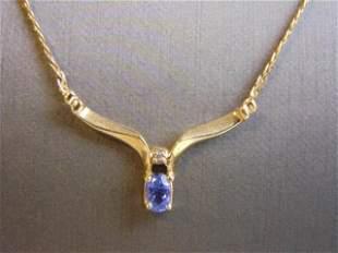 Vintage Estate 14k Gold Necklace w/ Diamond & Tanzanite