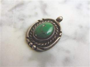 Womens Sterling Silver Turquoise Pendant