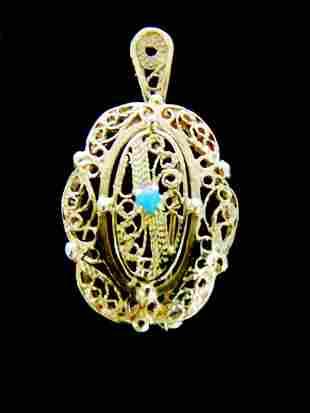 Womens 10K Yellow Gold Filigree Pendant & Brooche