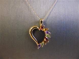 Womens Vintage 14K Gold Multi Stone Heart Pendant