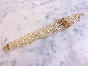 Womens Vintage Estate 14K Yellow Gold Bracelet w/ Pearl