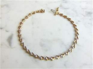 Womens 10K Yellow & White Gold Tennis Bracelet
