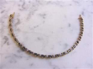 Womens 10K Gold Sapphire & Diamond Tennis Bracelet