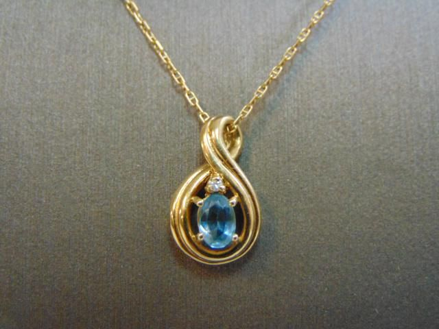 Womens 14k Gold Necklace w/ Topaz & Diamond Pendant