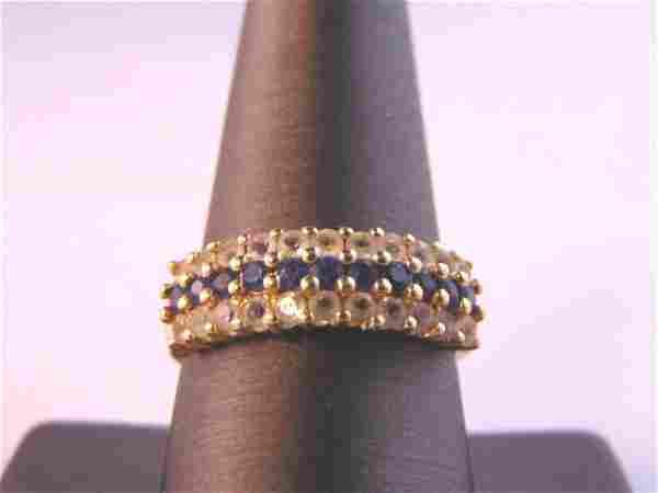 14K Yellow Gold Ring w/ CZ & Sapphire Stones