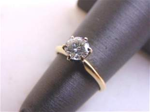 Womens Vintage Estate 14k Gold Solitaire Diamond Ring