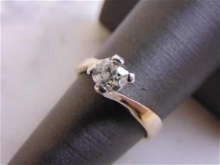 Womens Vintage 18k White Gold Solitaire Diamond Ring